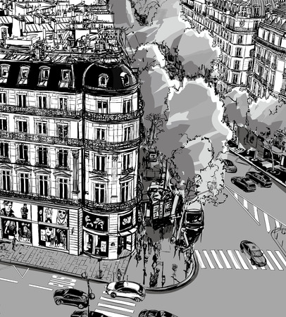aerial view: View of Tronchet street towards La Madeleine in Paris - Vector illustration