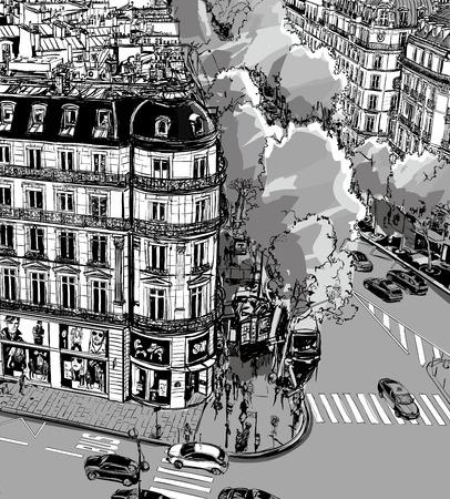 la: View of Tronchet street towards La Madeleine in Paris - Vector illustration