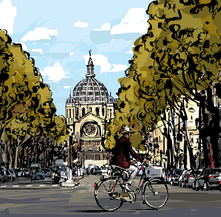 boulevard: Cyclist on the boulevard in front of Saint Augustin church in Paris - Vector illustration