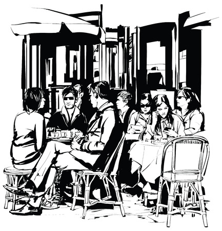 outdoor dining: Young people at a cafe terrace after work - Vector-illustration Illustration