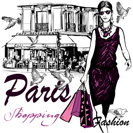 girl with bag: Woman shopping in Paris - Vector Illustration