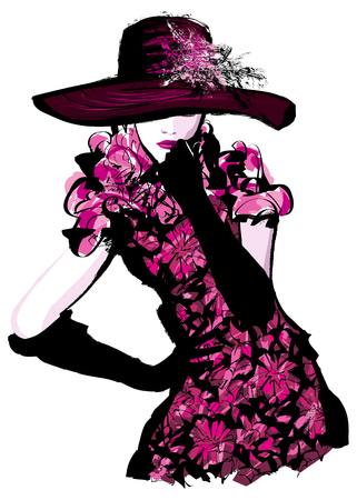 Young pretty woman with hat - Vector illustration Illustration