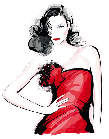 Fashion model with red dress - Vector illustration Çizim