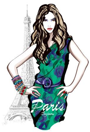파리에서 녹색 드레스와 젊은 예쁜 패션 모델 - 벡터 일러스트 레이 션 일러스트