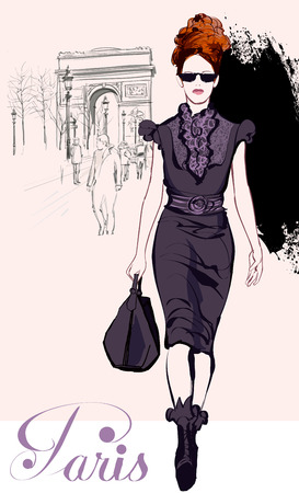 elegance fashion girls look sensuality young: Young pretty fashion model near Arc de Triomphe in Paris - Vector illustration Illustration