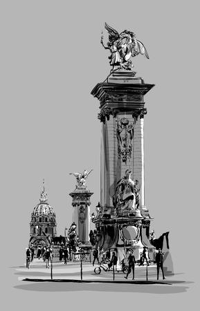 pont: Alexandre III Bridge in Paris France - vector illustration