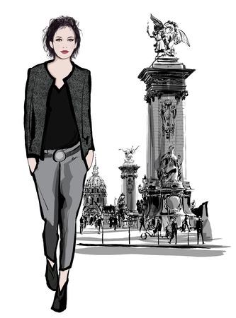 pont: woman walking on Alexandre III Bridge in Paris France - vector illustration