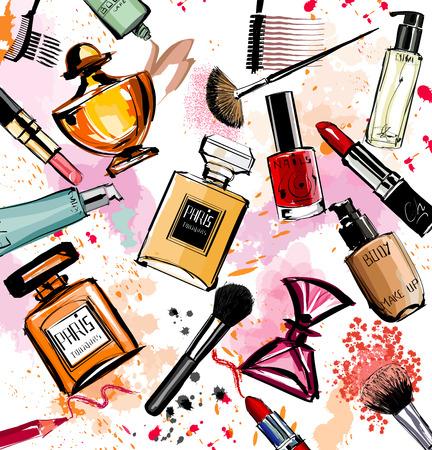 uñas pintadas: Acuarela cosméticos y perfumes colección - ilustración vectorial