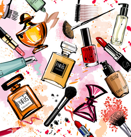 makeup fashion: Watercolor cosmetics and perfumes collection - Vector illustration Illustration