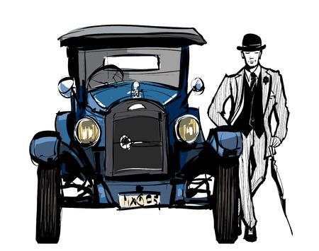 Vintage blue car  - vector illustration