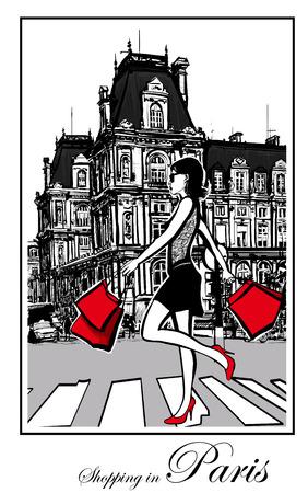 shopping bag: Women shopping in Paris - Vector illustration