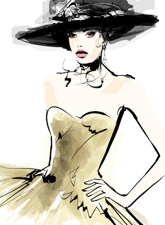 fashion sketch: Fashion woman model with a hat - vector illustration
