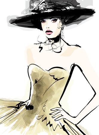 boceto: modelo de moda mujer con un sombrero - ilustración vectorial