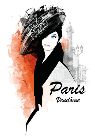 paris: Woman in Paris - place Vendome - Vector illustration