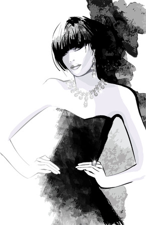 時尚: 女性在黑色禮服 - 矢量插圖