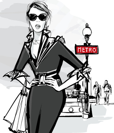 Fashion woman model shopping in Paris using underground - Vector Illustration Stock Illustratie