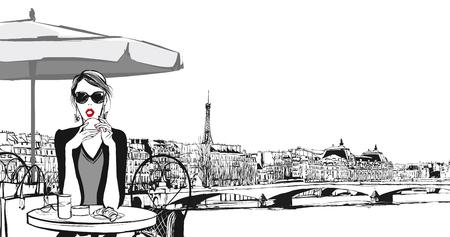 mujer joven con desayuno en París - ilustración vectorial Vectores