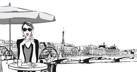 outdoor cafe: Young woman having breakfast in Paris - Vector illustration