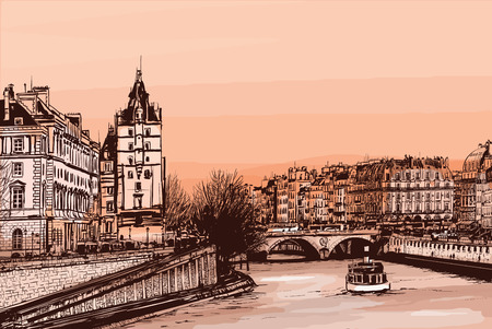 cite: Daylight view of the ile de la Cite from le pont neuf - Vector illustration