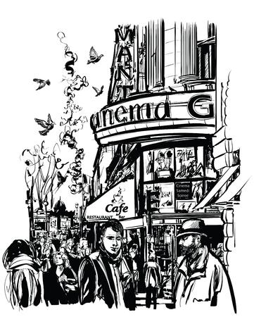 boulevard: Paris - Cinema in Grands Boulevards - vector illustration
