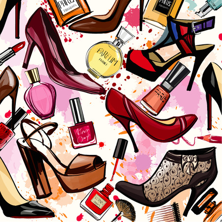 artistic woman: Watercolor cosmetics and shoes collection - Vector illustration Illustration