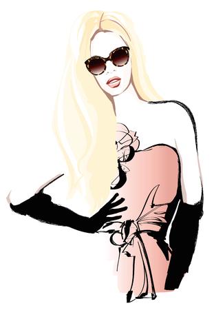 moda: Uzun sarı saçları ile güzel bir kadın manken - vektör çizim