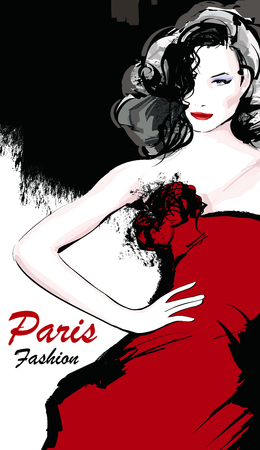 young girl nude: Young pretty fashion model with red dress in Paris - Vector illustration