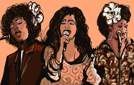 poster art: Three women jazz singers - vector illustration Illustration