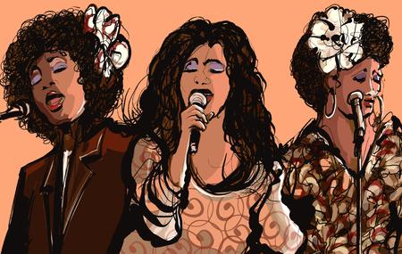 Three women jazz singers - vector illustration 向量圖像