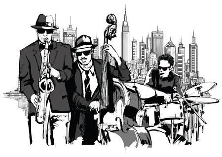 ニューヨーク - ベクトル図のジャズバンド