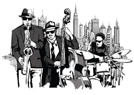 jazz drums: Jazz band in New-York - vector illustration