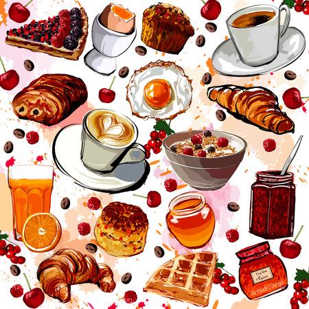 cafe food: Set of breakfast food - vector illustration
