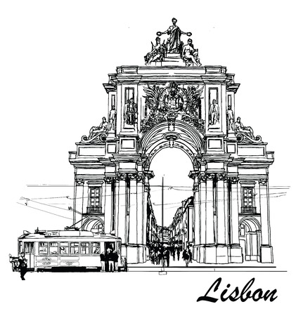 Commerce square in Lisbon with a tramway - Vector illustration