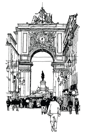 Commerce square in Lisbon - Vector illustration