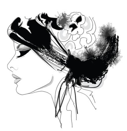 boceto: modelo de moda mujer con sombrero - ilustración vectorial Vectores