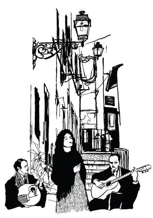 ファド歌手そしてリスボンのアルファマ - ベクトル図でギター演奏