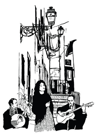 Fado singer and guitar players in Alfama Lisbon - Vector illustration
