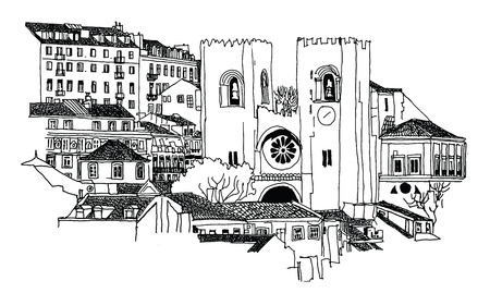 old city: Se Cathedral in Lisbon - Vector illustration Illustration