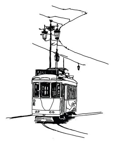 Old tramway in Lisbon - vector illustration