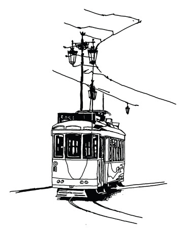 streetcar: Old tramway in Lisbon - vector illustration