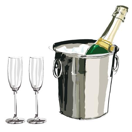 Champagne emmer en glazen - Vector illustratie