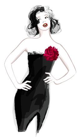 Woman in black dress - Vector illustration Vettoriali
