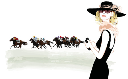 horse race: Woman in a horse racecourse with binoculars - vector illustration