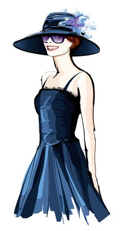 femme dessin: Jeune jolie femme avec chapeau - Vector illustration