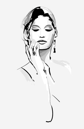 pampered: Drawing of a beautiful woman - vector illustration