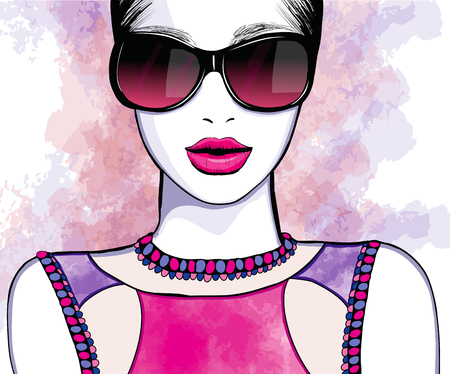 make up model: Young pretty woman with sunglasses - Vector illustration