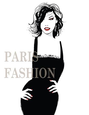 Joven modelo bastante de moda - ilustración vectorial