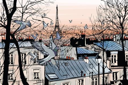 Montmartre en París con la torre eiffel - ilustración vectorial