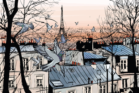 panoramic roof: Montmartre in Paris with eiffel tower - vector illustration Illustration