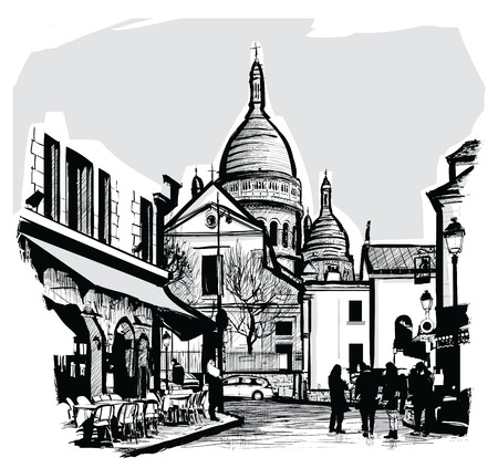 coeur: Basilica Sacre coeur in Paris - Vector illustration